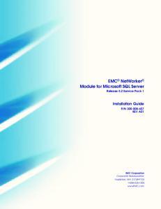 EMC NetWorker Module for Microsoft SQL Server Release 5.2 Service Pack 1