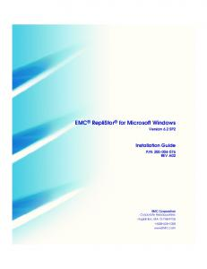 EMC RepliStor for Microsoft Windows Version 6.2 SP2