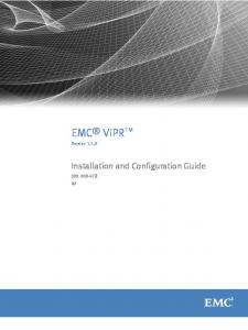 EMC ViPR. Installation and Configuration Guide. Version