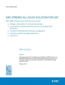 EMC XTREMIO ALL-FLASH SOLUTION FOR SAP