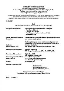 ÉME ENGINEERING PERMIT FOR THE CONSTRUCTION INDUSTRY