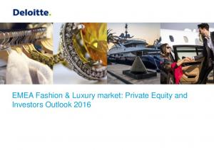 EMEA Fashion & Luxury market: Private Equity and Investors Outlook 2016