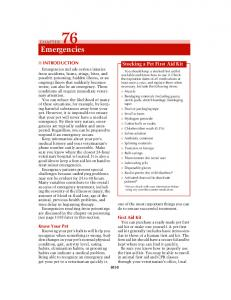 Emergencies. Stocking a Pet First Aid Kit INTRODUCTION