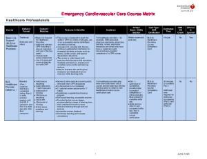 Emergency Cardiovascular Care Course Matrix