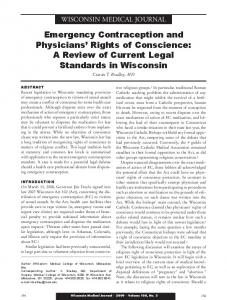 Emergency Contraception and Physicians Rights of Conscience: A Review of Current Legal Standards in Wisconsin