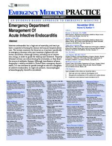 Emergency Department Management Of Acute Infective Endocarditis