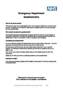 Emergency Department Questionnaire