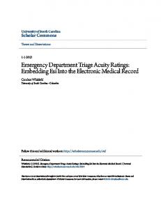 Emergency Department Triage Acuity Ratings: Embedding Esi Into the Electronic Medical Record