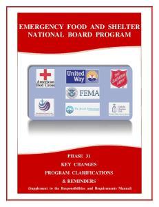 EMERGENCY FOOD AND SHELTER NATIONAL BOARD PROGRAM