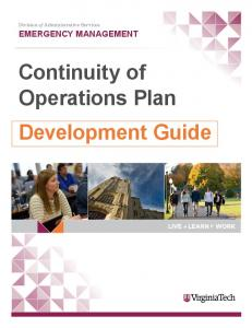 EMERGENCY MANAGEMENT Continuity of Operations Plan Development Guide