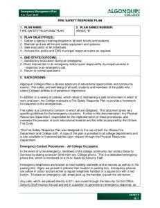 Emergency Management Plan Rev. April 2014 FIRE SAFETY RESPONSE PLAN 1. PLAN NAME: FIRE SAFETY RESPONSE PLAN 2. PLAN ANNEX NUMBER: ANNEX B