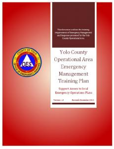 Emergency Management Training Plan December 2013