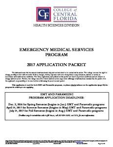 EMERGENCY MEDICAL SERVICES PROGRAM 2017 APPLICATION PACKET
