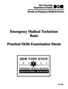 Emergency Medical Technician Basic. Practical Skills Examination Sheets