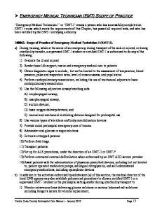 EMERGENCY MEDICAL TECHNICIAN (EMT) SCOPE OF PRACTICE