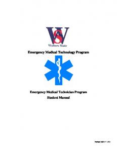 Emergency Medical Technology Program Emergency Medical Technician Program Student Manual