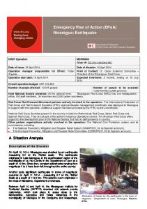 Emergency Plan of Action (EPoA) Nicaragua: Earthquake