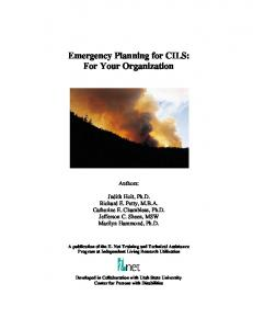 Emergency Planning for CILS: For Your Organization