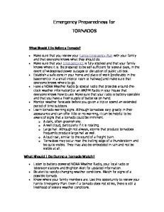 Emergency Preparedness for TORNADOS