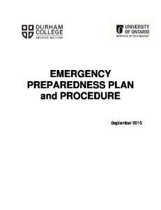 EMERGENCY PREPAREDNESS PLAN and PROCEDURE
