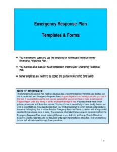 Emergency Response Plan. Templates & Forms