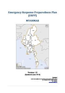 Emergency Response Preparedness Plan (ERPP) MYANMAR
