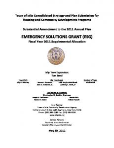 EMERGENCY SOLUTIONS GRANT (ESG) Fiscal Year 2011 Supplemental Allocation