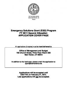 Emergency Solutions Grant (ESG) Program FY 2011 Second Allocation APPLICATION COVER PAGE