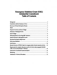Emergency Solutions Grant (ESG) Substantial Amendment Table of Contents