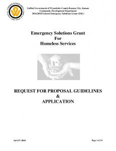 Emergency Solutions Grant For Homeless Services