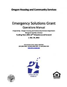 Emergency Solutions Grant Operations Manual