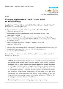 Emerging Applications of Liquid Crystals Based on Nanotechnology