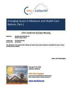 Emerging Issues in Medicare and Health Care Reform, Part 1