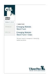 Emerging Markets Stock Fund Emerging Markets Stock Fund I Class