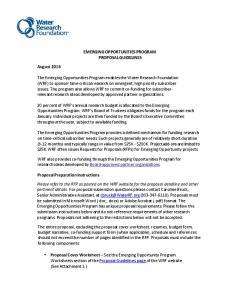 EMERGING OPPORTUNITIES PROGRAM PROPOSAL GUIDELINES