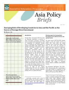 Emerging Role of Developing Countries in Asia and the Pacific as the Source of Foreign Direct Investment