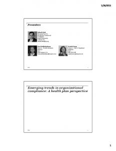 Emerging trends in organizational compliance: A health plan perspective