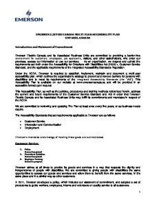 EMERSON ELECTRIC CANADA MULTI-YEAR ACCESSIBILITY PLAN ONTARIO, CANADA