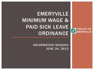 EMERYVILLE MINIMUM WAGE & PAID SICK LEAVE ORDINANCE