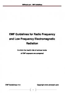 EMF Guidelines for Radio Frequency and Low Frequency Electromagnetic Radiation