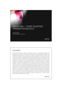 EMGS ASA THIRD QUARTER PRESENTATION 2012