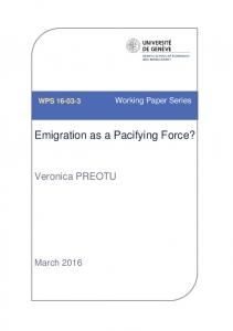 Emigration as a Pacifying Force?