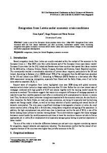 Emigration from Latvia under economic crisis conditions