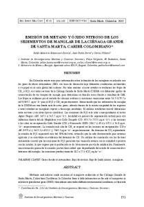 EMISIÓN DE METANO Y ÓXIDO NITROSO DE LOS SEDIMENTOS DE MANGLAR DE LA CIÉNAGA GRANDE DE SANTA MARTA, CARIBE COLOMBIANO*