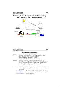 Emission, Ausbreitung, chemische Umwandlung und Deposition von Luftschadstoffen