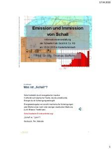 Emission und Immission von Schall