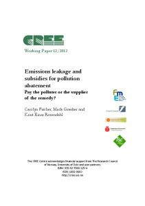 Emissions leakage and subsidies for pollution abatement Pay the polluter or the supplier of the remedy?