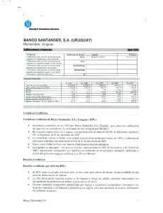 EMN. BANCO SANTANDER, S.A. (URUGUAY) Montevideo, Uruguay Calificaciones y Contactos AhriI Banco Santander S.A. MvcIcra S.vW
