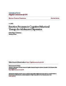 Emotion Processes in Cognitive Behavioral Therapy for Adolescent Depression