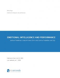 EMOTIONAL INTELLIGENCE AND PERFORMANCE